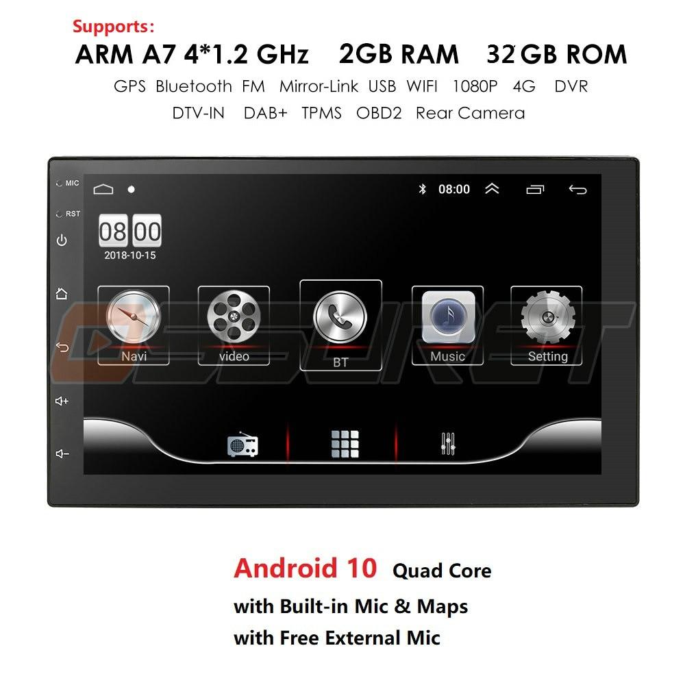 4 Core 2 Din Android 10 Автомобиль Радио мультимедийный видеоплеер Универсальный Авто Радио стерео GPS Зеркало Ссылка 7 дюймов HD сенсорный экран Экран ...