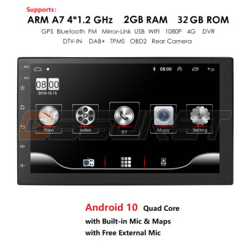 4 Core 2 Din Android 10 Car radio Multimedia Video Player Universal auto Stereo GPS Mirror Link 7 inch HD Touch Screen USB image
