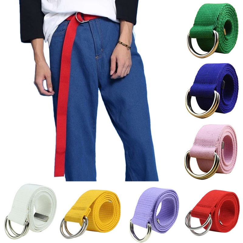O 12 Color Belt Wide Solid Color Unisex Belt Double Loop Canvas Casual Belt Jeans Leggings Belt Unisex Accessories 125cm