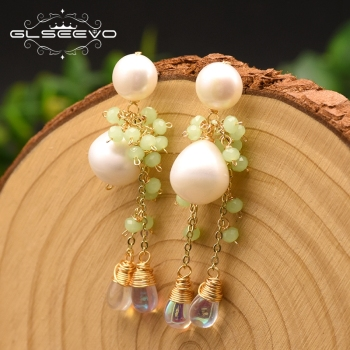 GLSEEVO Original Design Natural Round Fresh Water Pearl Drop Earrings For Women Wedding Engagement Fine Jewelry Brincos GE0871