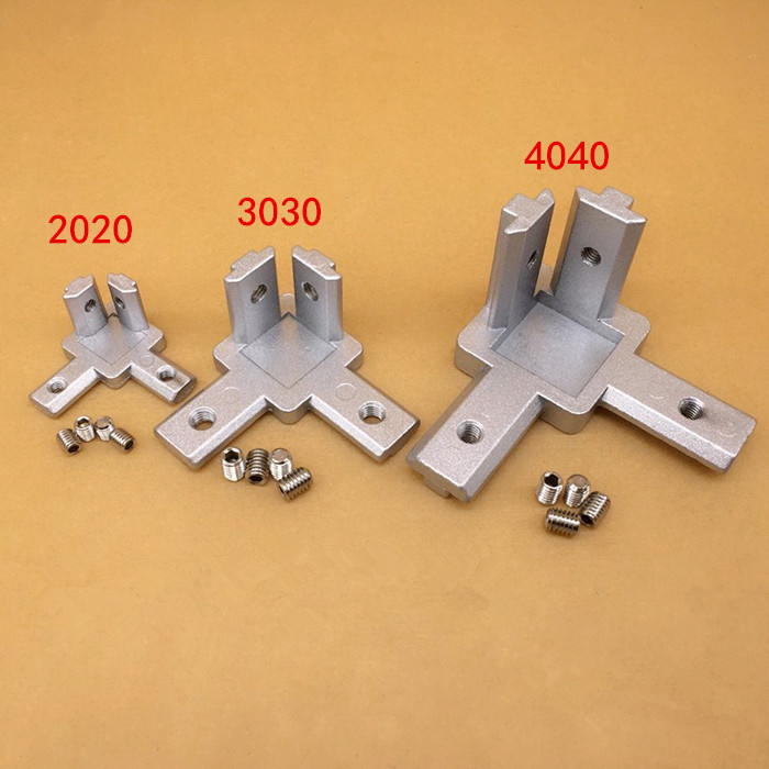 Concealed 3-way Corner Connector L Type Three Dimensional Connector 2020 Profile European Standard Right Angle Connector