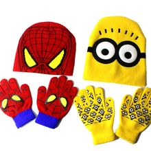 Детская шапка, перчатки, набор, Детские Мультяшные перчатки с миньонами головные уборы наборы, Человек-паук, модные детские теплые трикотажные шапки, перчатки, шапочки, костюм