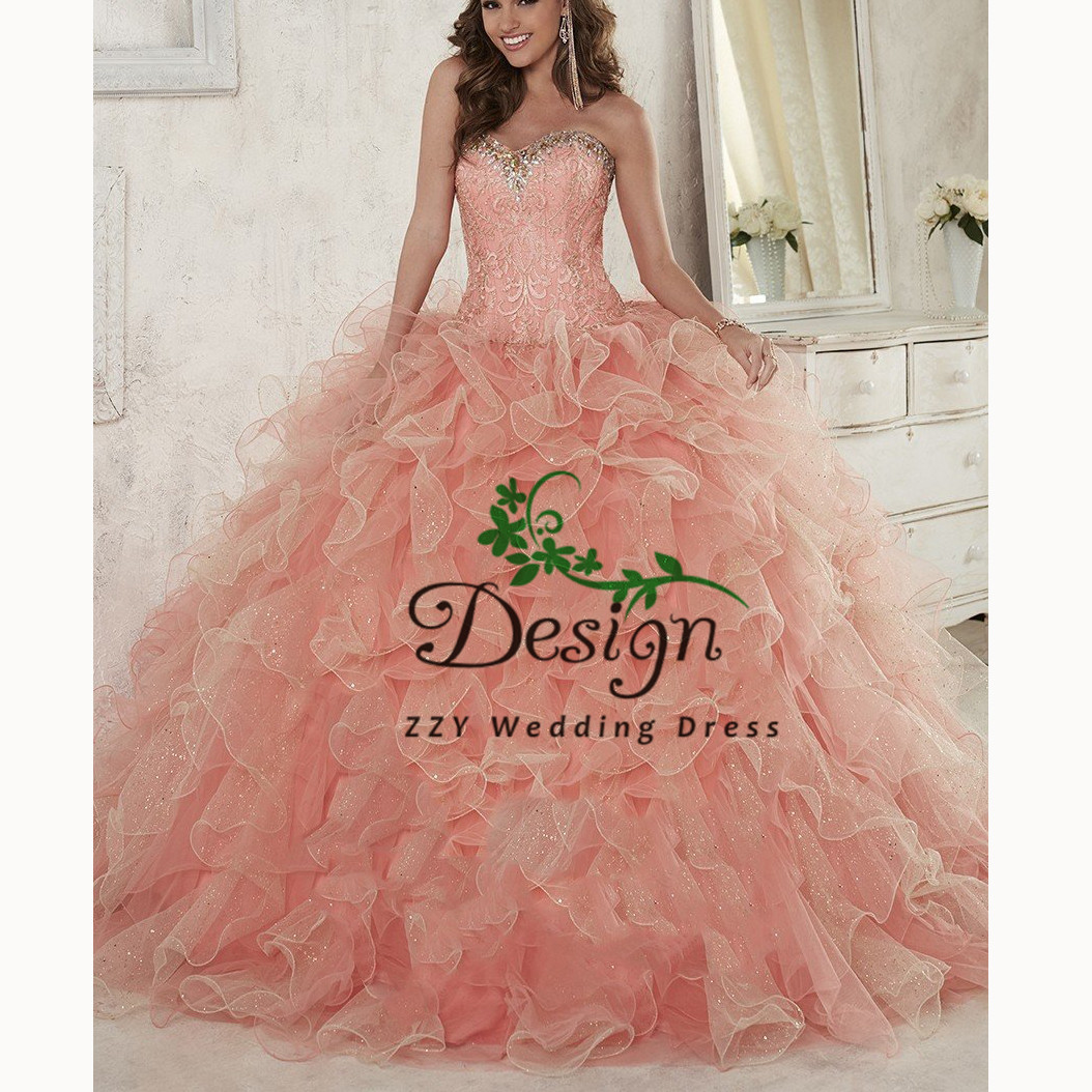 Sparkling Bling Vestidos De Quinceañera	 Appliques Beading Crystals Quinceanera Dresses Tiered Pink Court Train Sweet 16 Dresses