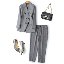 2019 British Style Vintage Plaid Suits Set Women Grey Pants