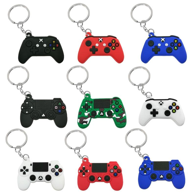 1PCS PVC Game Machine Keychain & Keyring Cute Gamepad Joystick Key Chain PS4 Game Console Keychains Bag Car Hanging