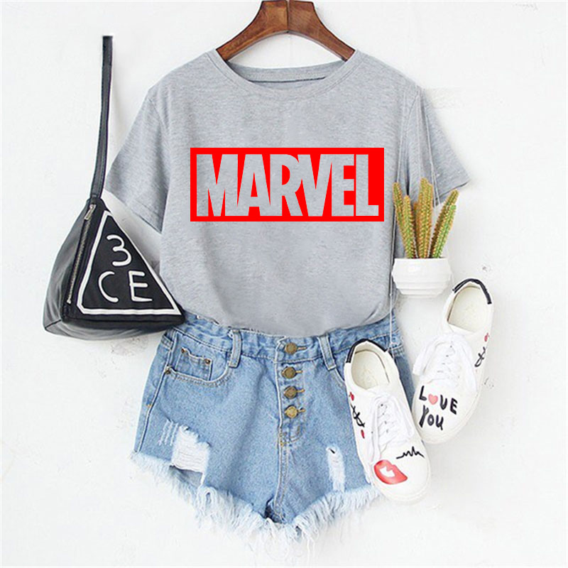 LUSLOS The Avengers Marvel T Shirt Women Tshirt 3Colors Female T-shirt Plus Size Harajuku Fashion Tee Shirts Women Clothes 2019