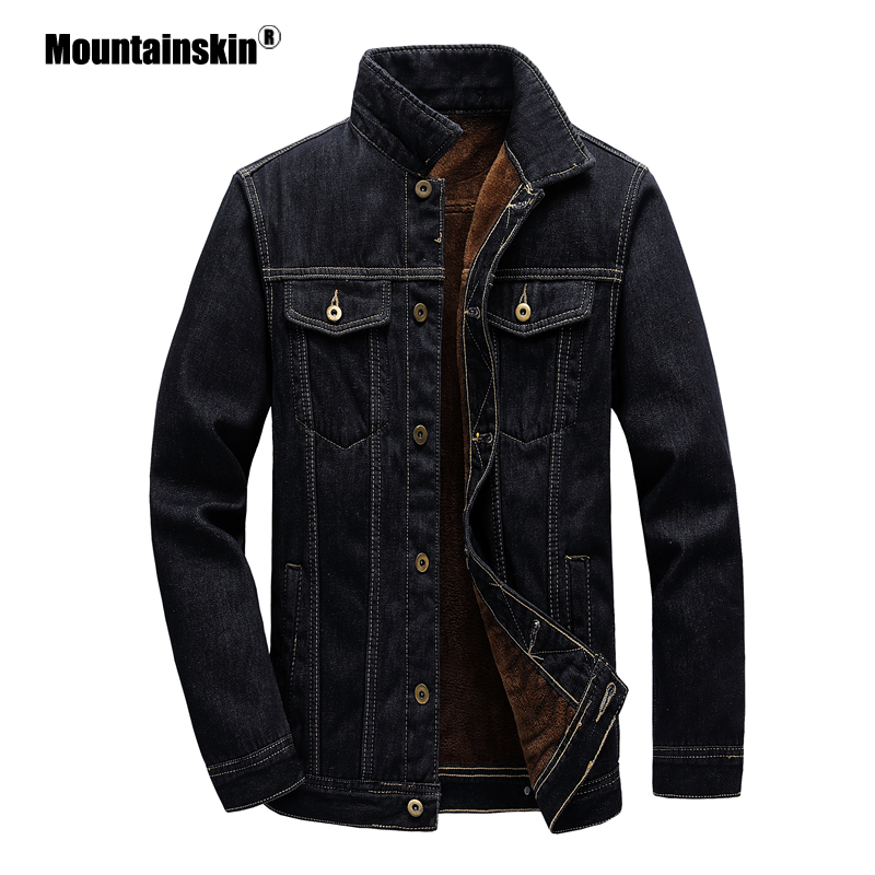 Mountainskin Men's Denim Jacket Winter Thick Velvet Mens Warm Coat Cowboy Jean Jackets Male Fashion Windproof Coats SA882