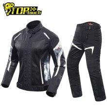 طقم جاكيت للدراجة النارية من DUHAN + بنطلون الدراجة النارية للنساء يسمح بالتهوية جاكيت للدراجة النارية من Jaqueta Moto Motoqueiro