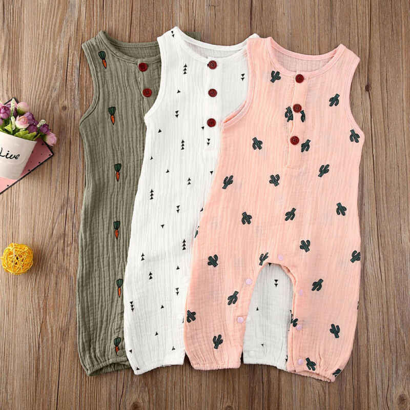 2020 Summer Sleeveless Newborn Baby Girl Boy Clothes COTTON&LINEN Cactus Print Romper Jumpsuit Soft Baby Outfit One Piece