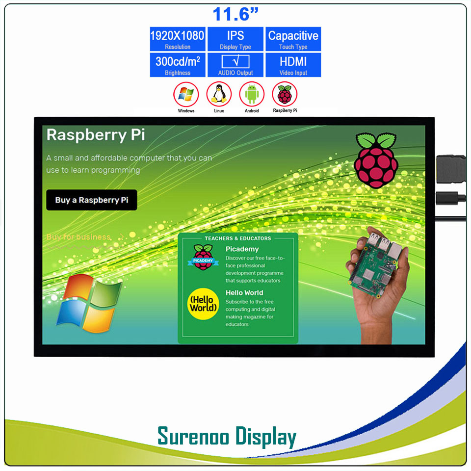 "11.6"" 1920*1080 HDMI LCD Module Display Monitor IPS Screen With USB Capacitive Touch Panel Support Audio Output For Raspberry Pi"