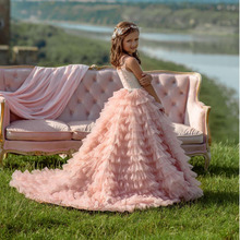 Pink Spaghetti Strap Lace Beading Ruffle Flower Girls Dresses For Wedding Girl's First Communion Gowns Special Occasion Dress