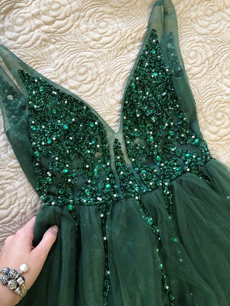 Сексуальное длинное вечернее платье с глубоким v-образным вырезом и разрезом сбоку, Новое поступление года, блестящее платье с высоким разрезом и открытой спиной, Abendkleider Lang - Цвет: Зеленый