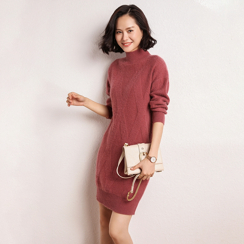Hot DealsHelovi Knitted Sweaters Long-Sleeve Cashmere Loose Winter Casual Women Dress High-End