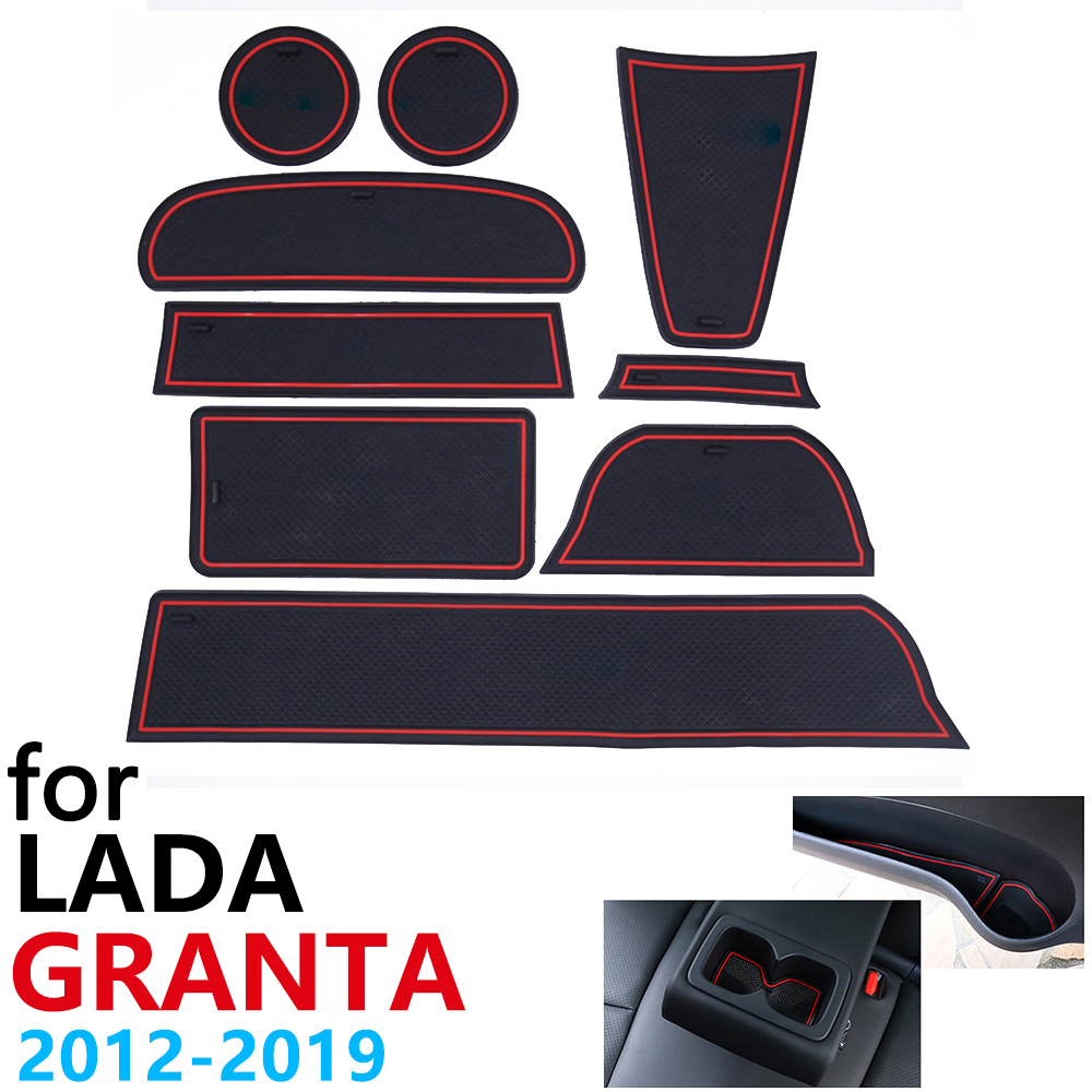 Anti-Slip Rubber Cup Cushion Door Groove Mat For Lada Granta 2012~2019 2014 2016 2018 Accessories Car Stickers Mat For Phone