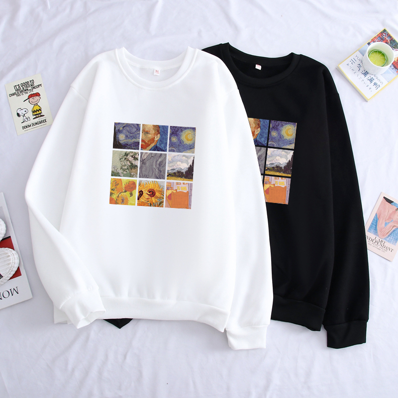 Men Van Gogh Print Hoodies Unisex Solid Long Sleeve Casual Sweatshirts Moletom Hip Hop Harajuku Winter Coat Fleece Clothes
