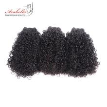 3 قطع من خصلات الشعر المنسوج المجعد لتطويل الشعر البشري بنسبة 100% لون طبيعي رباط شعر أرابيلا ريمي