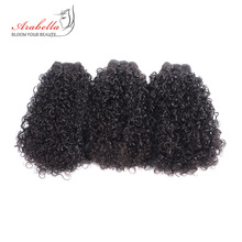 Bundles Curly Arabella 100%Human-Hair-Extension Hair-Weave 3pieces Remy Natural-Color