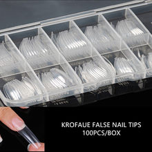 1 Box 100pcs Fake Nails Transparent False French Nail Tips Artificial Acrylic Ballerina Coffin Manicure Design Set DIY Tool