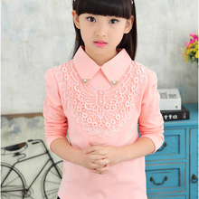 Cotton Blouse Shirt Embroidery School-Clothes Lace Big-Girls Kids Tops Spring-Fall Long-Sleeve