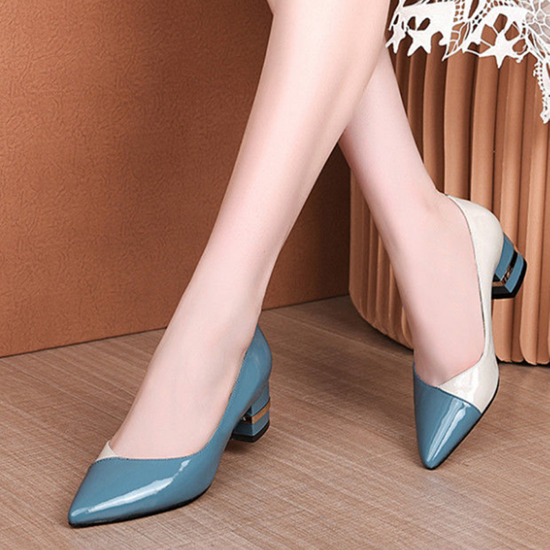 Female Fashion Sweet Blue High Quality Pu Leather Office Pumps Women Casual Pink High Heel Shoes Black Classic High Heels G5491