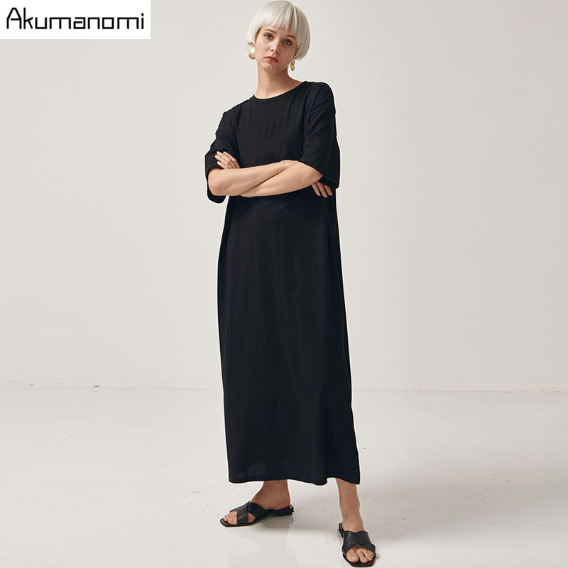 Black Cotton Long Dresses Ladies Plus Size Women Xxxl 4xl 5xl 6xl 7xl O-neck Short Sleeve Befree Maxi Casual Dress Cotton Tops 3