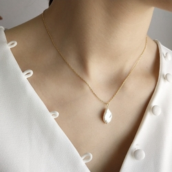 LouLeur 925 sterling silver Baroque pearl pendants necklace simple design wild elegant charm pearl necklace for women jewelry