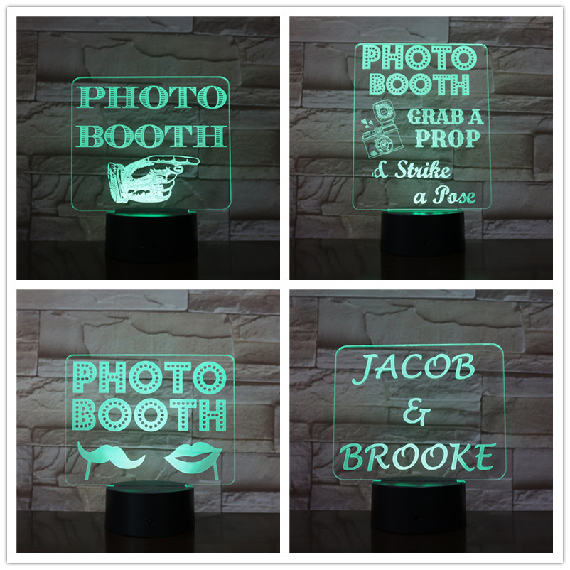 7 Color Change Photobooth Card Model 3D Lamp USB Table Lighting For Home Office Coffee Shop Decor Friend Lighting
