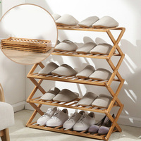 Free installation folding multi layer shoe rack simple household economic racks dormitory door storage rack bamboo shoe cabinet