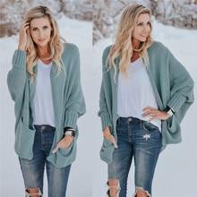 Plus Size Women Warm Knit Sweater Bat Sleeve Long Cardigan Open Stitch Top