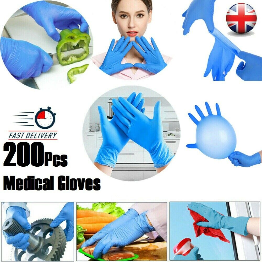 20/100/200pcs Blue/Black Nitrile Disposable Gloves Box Food Grade Nitrile Gloves Single Use