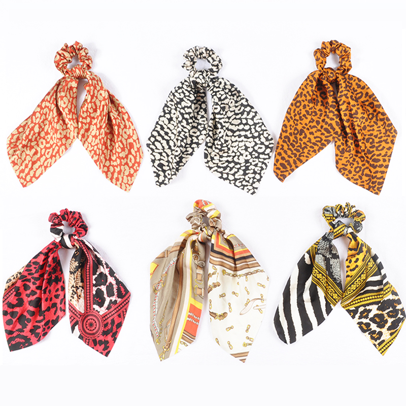 Leopard Print Rubber Hair Ties Chiffon Elastic Hair Bands Retro Girls Summer Hair Scarf Scrunchie Hair Accessoiries For Women