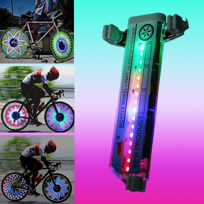 Double Sided 16 LED Light Colorful Knight Mountain Bike Wheel Spoke Warning Lights Tire Signal Reflective Light