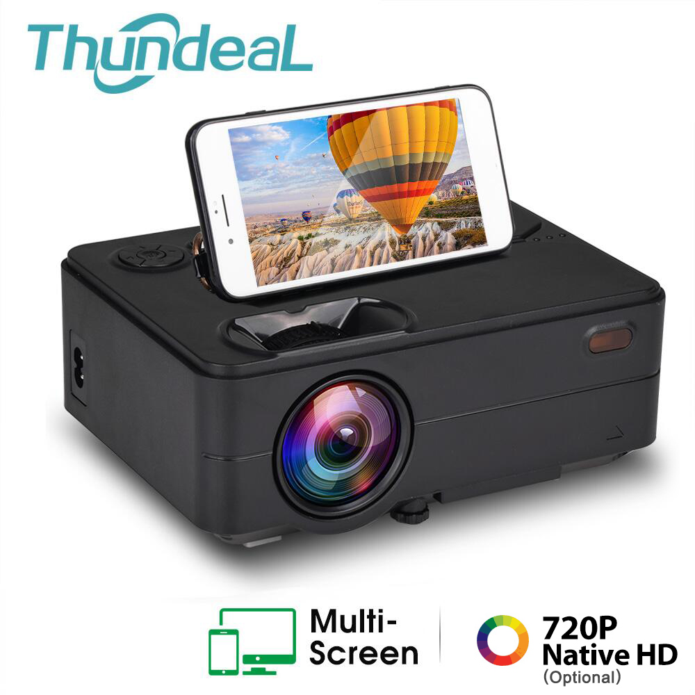 ThundeaL Mini Projector 2400 Lumen Native 1280 x 720P LED WiFi Wireless Sync Display Beamer TV 3D Video Projector Home Cinema