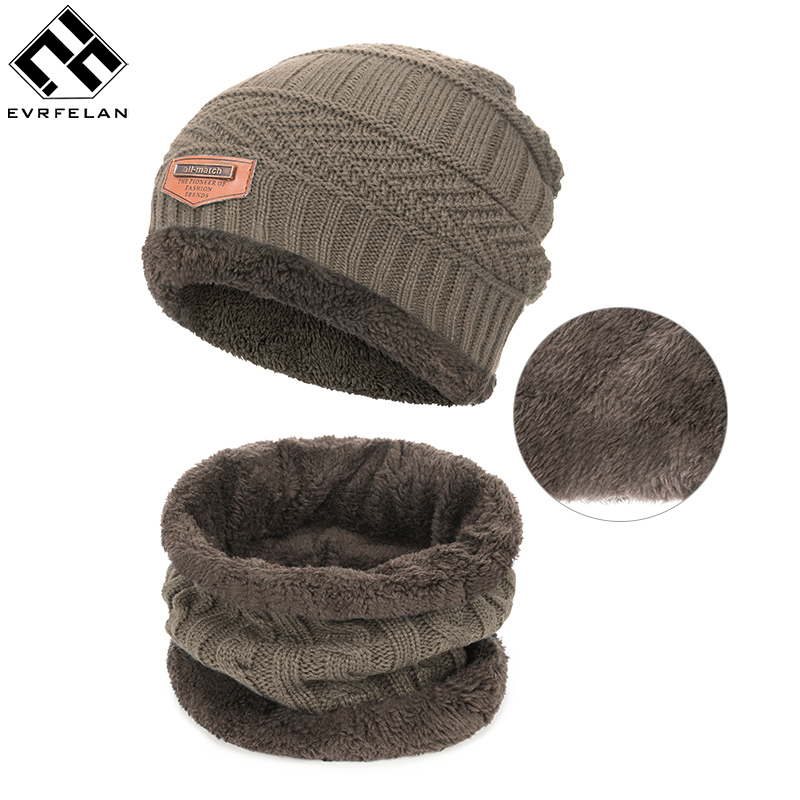 Evrfelan Cap Scarves Wool-Hat Winter Accessories Girls Boys Children 2pieces Knitted