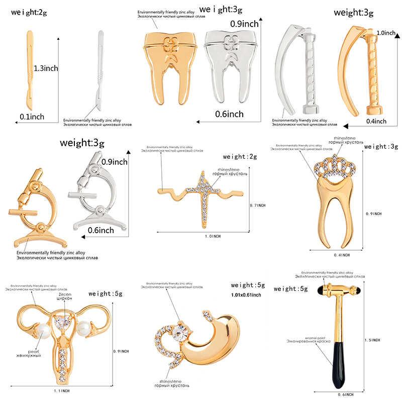 Obat Kerah Pin Rahim Perut Mahkota Gigi Pisau Bedah Mikroskop Bros Lencana Ransel Pin Perhiasan Hadiah untuk Teman