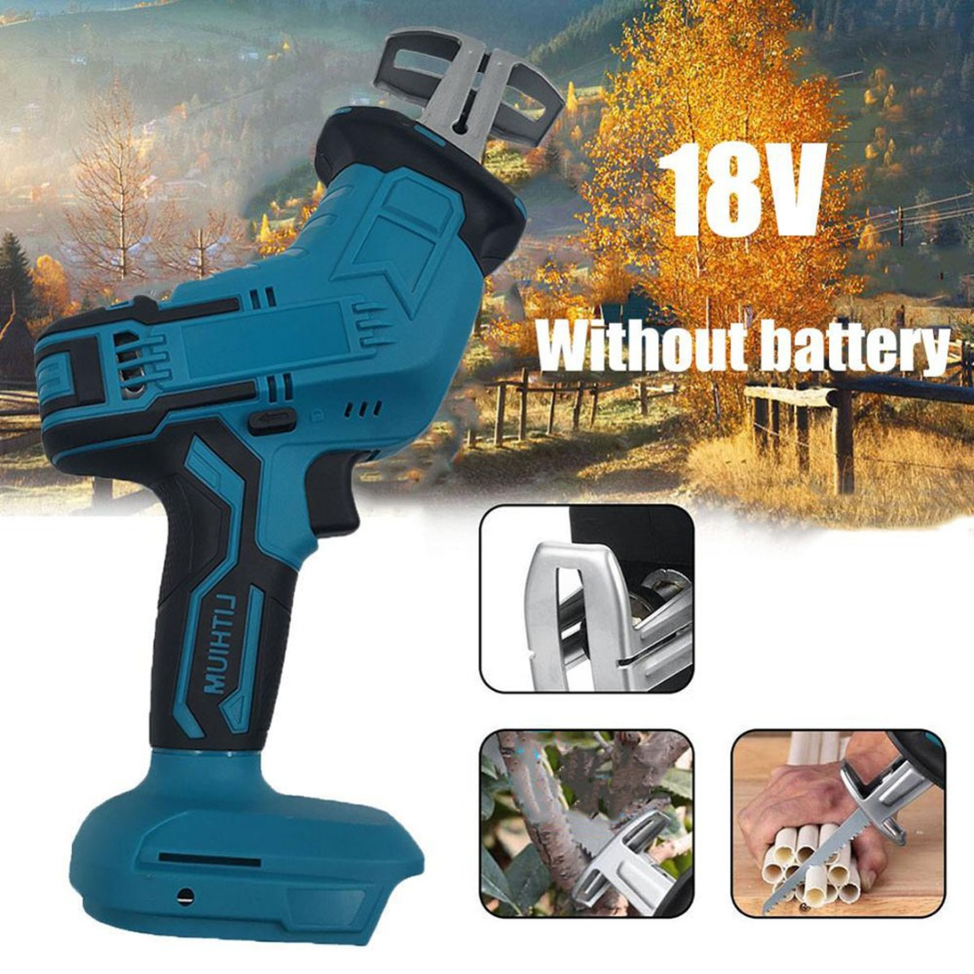 Portable 18V Cordless Reciprocating Saw Blade Battery Electric Saber Li-Ion For Wood Metal Chain Cutting Power Tool