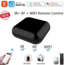 Tuya wifi + rf ir inteligente controle remoto rf aparelhos de controle de voz trabalho via alexa google casa inteligente vida aplicativo casa inteligente casa
