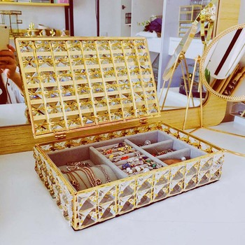 Mordoa Wedding Jewelry Box Gold Candy Ring Earrings Necklace Case Gift Birthday Party Wedding Decor