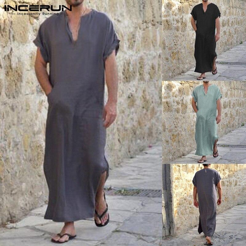 INCERUN 100%Cotton Arab Style Robe Dress Men Short Sleeve V-Neck Full Length Shirts Lounge Male Gown Plus Size S-5XL Sleepwear