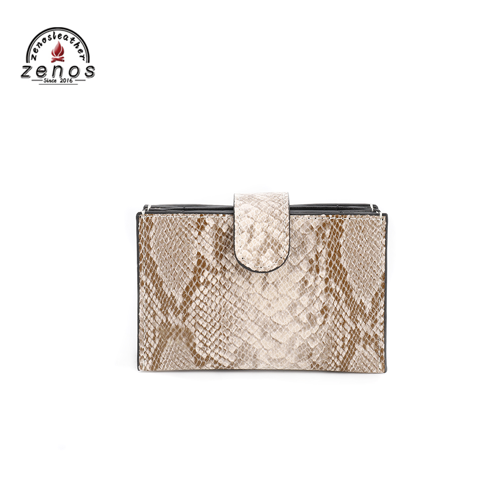 Zenos High Level Women's Leather Credit Cards Holder Snake Skin Pattern Purse Card Case Protection Man Coins Leather Case Cover