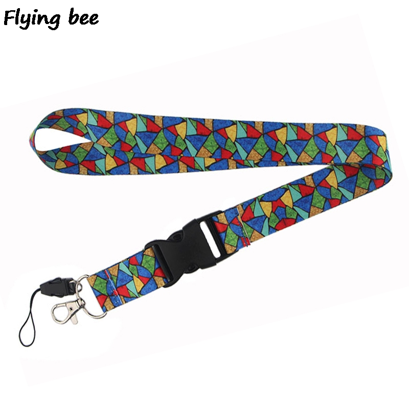 Flyingbee Colorful Fashion Lanyard Phone Rope Keychains Phone Lanyard For Keys ID Card Cartoon Lanyards For Men Women X0463