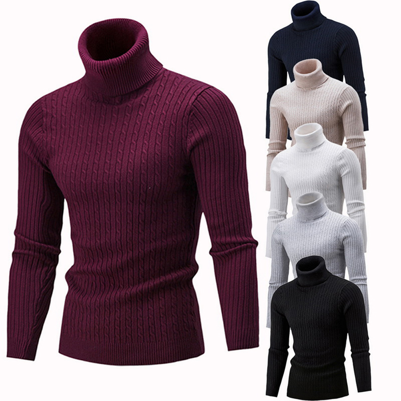 New Arrival Men's Warm Turtleneck Sweater hombre Fashion Solid Knitted Mens Sweaters Casual Slim Pullover Male Double Collar Top image