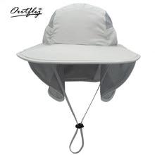 Outfly-Sombrero de Sol de ala ancha para hombre y mujer, sombrero de poliéster de secado rápido, sombreros de cubo de pesca de montaña con protector de cuello