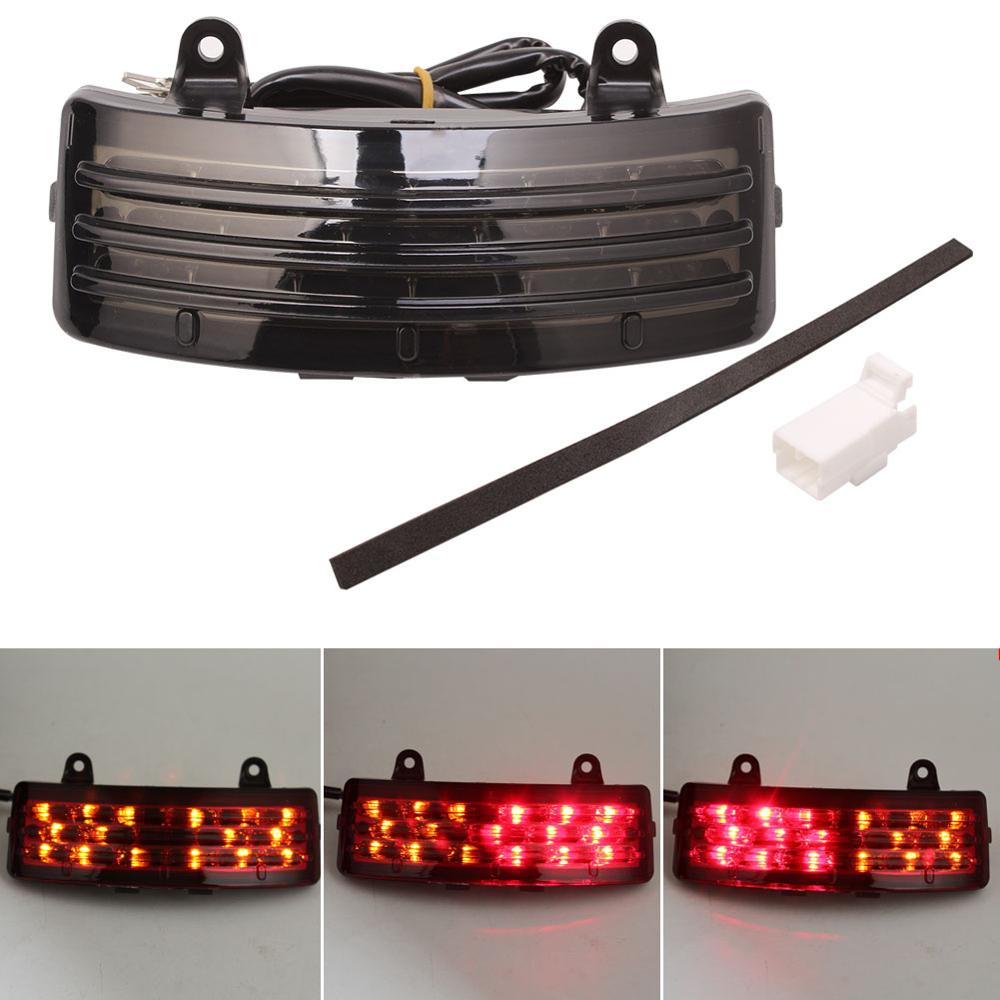 Motorcycle Smoke Tri-Bar LED Rear Brake Tail Fender Tip Light For Harley Touring Street Glide