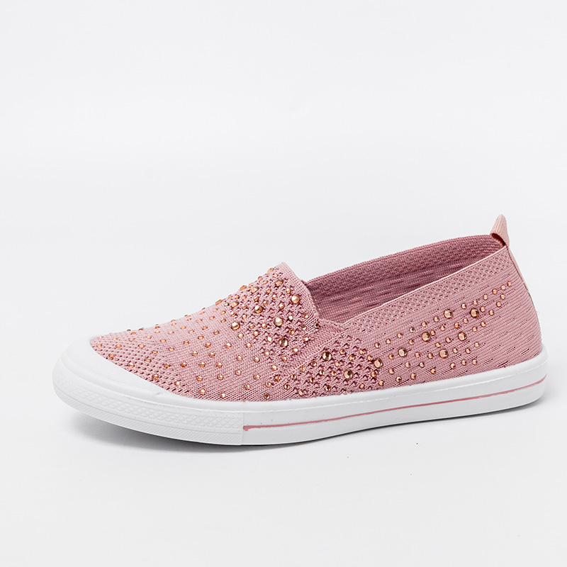 Women's Summer Sneakers Ladies  Shoes Flat Loafers Crystal Fashion White Bling Sneakers Knit Slip On Breathable Casual Shoes