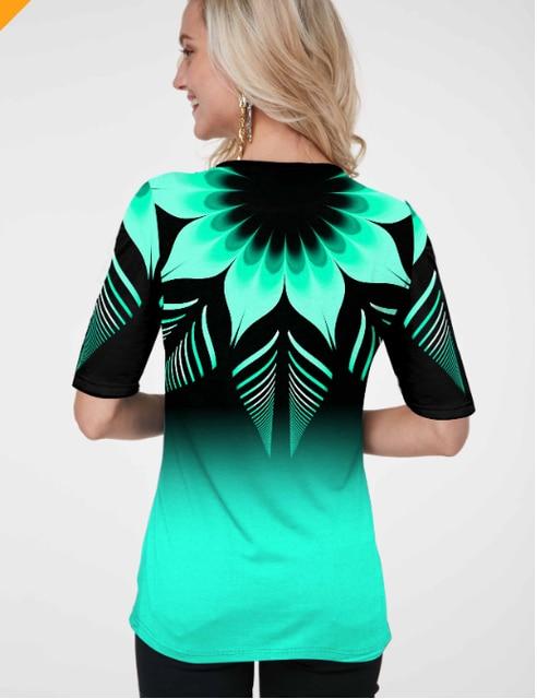 Shirt Blouse Women Plus size Milk-silk Women New Spring print Blue Tops half Sleeve Elasticity Splice Female Shirt Casual