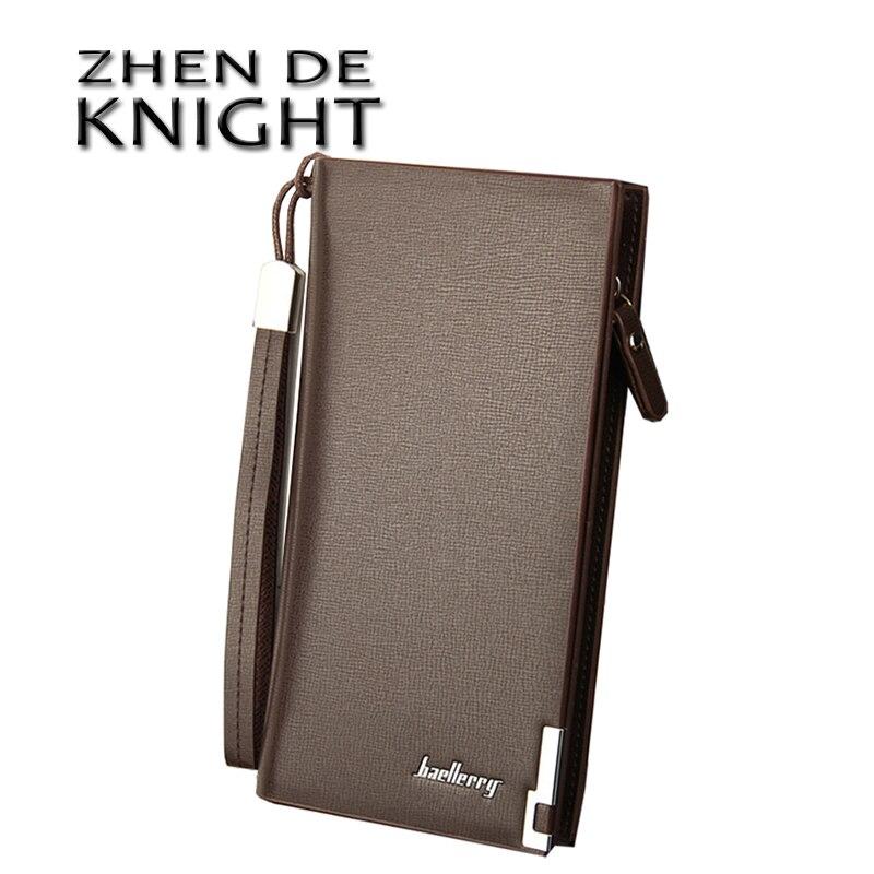 Portefeuilles pour hommes d'affaires solide en cuir PU longue Portable sacs à main en argent décontracté Standard pochette pour hommes