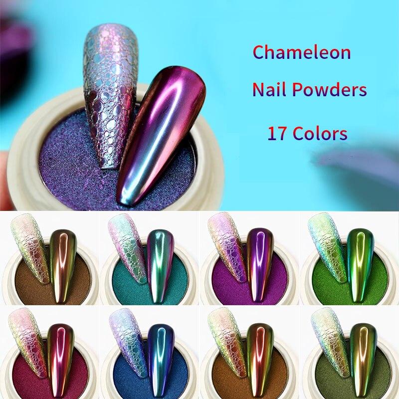 1g/Box Chameleon Mirror Nail Glitter Powders Aurora Effect Nail Art Chrome Pigment Dust DIY UV Polish Laser Manicure Decorations