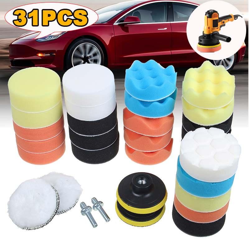 Efficient 10/22/31Pcs Buffing Pad Set Thread 3 Inch Auto Car Polishing Pad Kit For Car Polisher + Drill Adaptor M10 Power Tools