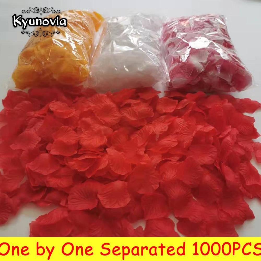 Kyunovia  Separated Petals 1000pcs Polyester Rose Petals Petalos De Rosa Wedding Decoration Artificial Wedding Rose Petals